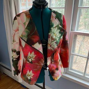 Ted Baker Pink Floral Neoprene Moto Jacket size 5